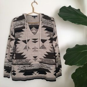 American Eagle Tribal Knit Pullover Hood Sweater